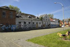 Città fantasma Doel, le Fiandre orientali, Belgio Fotografia Stock