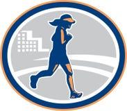 Città femminile del corridore maratona retro Immagini Stock