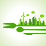 Città-fuga di Eco sui cutlaries del ristorante Immagine Stock