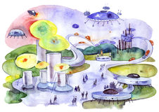 Città futura Immagine Stock