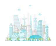 Città futura del fumetto su un fondo del paesaggio Vettore illustrazione vettoriale