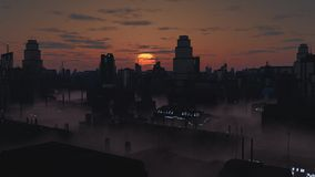 Città futura in Misty Sunset Immagini Stock Libere da Diritti