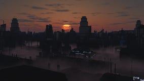 Città futura in Misty Sunset royalty illustrazione gratis