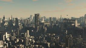 Città futura - sera illustrazione di stock