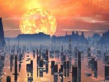 Città futura sommersa con Sun gigante rosso illustrazione vettoriale