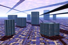 Città futuristica Immagini Stock Libere da Diritti
