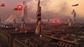 Città futuristica illustrazione di stock