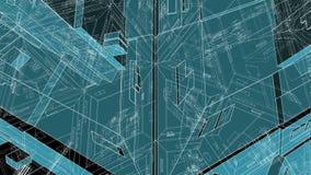 Città futuristica crescente dei grattacieli che evolvono ciclo illustrazione vettoriale