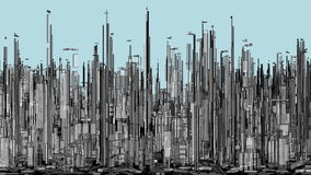 Città futuristica della megalopoli dell'animazione dei grattacieli illustrazione vettoriale