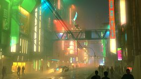 Città futuristica di Sci fi alla notte con l'illustrazione aerea della gente e del traffico cittadino 3d illustrazione vettoriale