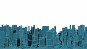 Città futuristica panoramica crescente dei grattacieli che evolvono ciclo illustrazione vettoriale
