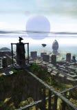 Città futuristica sul mare Immagine Stock