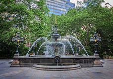 Città Hall Park Fountain Fotografia Stock Libera da Diritti