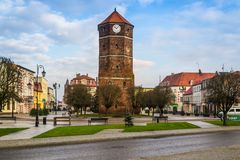 Città Hall Tower in Znin, Polonia immagine stock