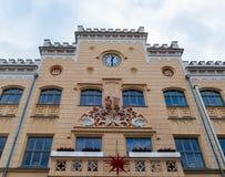 Città Hall Zwickau con la stella di Natale Fotografie Stock Libere da Diritti