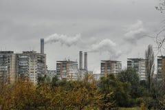 Città inquinante Fotografia Stock
