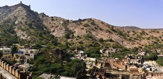 Città intorno al punto di vista di Amber Fort Fotografia Stock Libera da Diritti