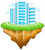 Città, isola di galleggiamento, costruzioni, paesaggio Immagini Stock
