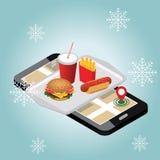 Città isometrica Consegna degli alimenti a rapida preparazione di inverno Fast food Alimento sul vassoio del cameriere Giorno di  illustrazione vettoriale