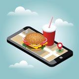 Città isometrica Consegna degli alimenti a rapida preparazione Fast food Ricerca mobile Inseguimento di Geo programma Città isome Fotografia Stock
