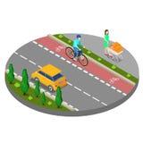 Città isometrica Percorso della bici con il sentiero per pedoni del ciclista con la donna illustrazione vettoriale