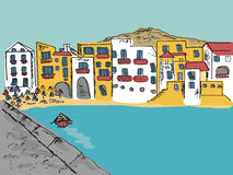 Città italiana disegnata a mano Fotografia Stock Libera da Diritti