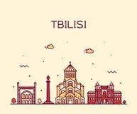 Città lineare di stile di vettore di Georgia dell'orizzonte di Tbilisi fotografie stock libere da diritti
