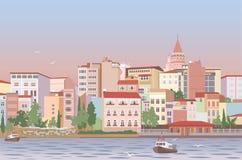 Città in mattina illustrazione vettoriale