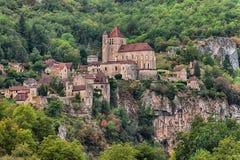 Città medievale del san-Cirq Lapopie, Francia Fotografia Stock Libera da Diritti