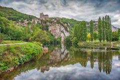 Città medievale del san-Cirq Lapopie, Francia Fotografie Stock Libere da Diritti