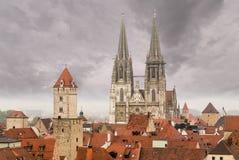 Città medievale Germania di Regensburg fotografia stock
