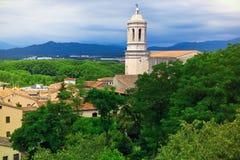 Città medioevale di Girona Fotografia Stock Libera da Diritti