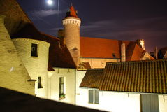 Città medioevale entro la notte Fotografia Stock Libera da Diritti