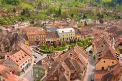 Città miniatura con effetto dello spostamento di inclinazione Fotografia Stock
