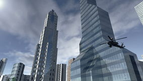Città moderna animata con un elicottero 4K illustrazione vettoriale