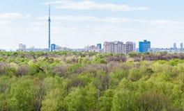 Città moderna e foresta verde in primavera Fotografia Stock Libera da Diritti