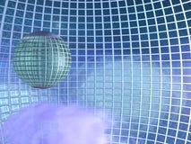 Città nei cieli - griglia del globo circondata Fotografia Stock