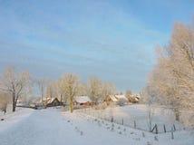 Città nell'inverno, Lituania di Rusne Immagine Stock Libera da Diritti