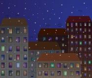 Città nella sera Fotografie Stock Libere da Diritti
