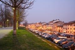 Città nella sera, Italia di Treviso Fotografia Stock Libera da Diritti