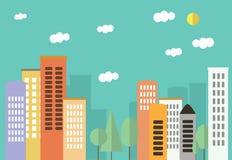 Città nello stile del piano Bei colori pastelli Paesaggio della città Fotografia Stock Libera da Diritti