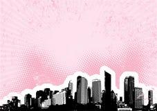 Città nera con il colore rosa. Vettore Immagini Stock