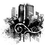 Città nera del grunge Fotografia Stock