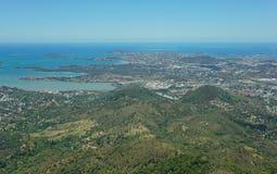Città Nuova Caledonia di Noumea della penisola di vista aerea Immagini Stock