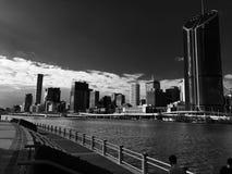 Città nuvolosa scura Fotografia Stock
