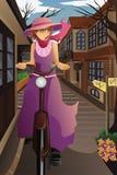 Città occupata nella ragazza morningStylish con la vecchia bici in vecchio ci illustrazione di stock
