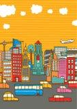 Città occupata variopinta con lo spazio della copia royalty illustrazione gratis