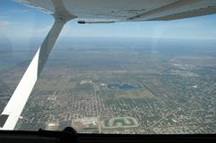 Città osservata dai velivoli Fotografia Stock