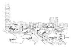 Città panorama-4 Immagine Stock Libera da Diritti