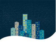 Città, panorama della neve di inverno di notte della città Fotografia Stock